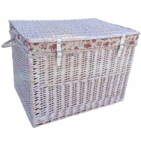 New England Rose Lined White Painted Jumbo Wicker Storage Chest H 50 x W 75cm